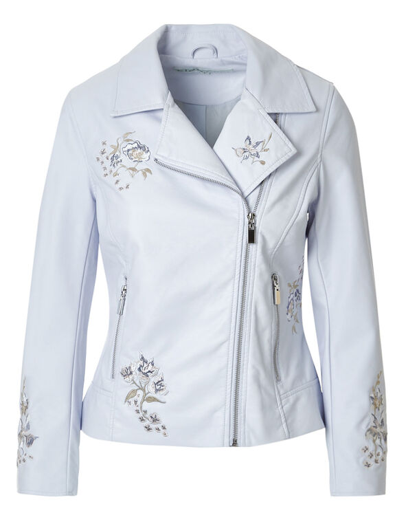 Blue Floral Faux Leather Jacket, New Blue, hi-res