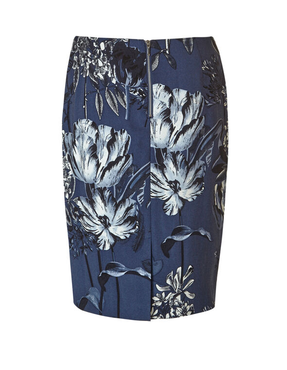 Denim Floral Pencil Skirt, Denim, hi-res