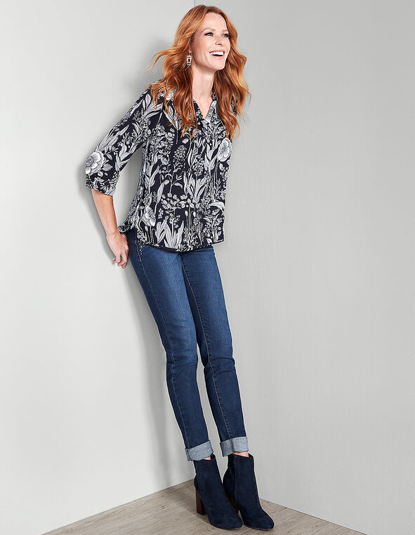 Navy Floral Roll Sleeve Blouse, Navy/White, hi-res