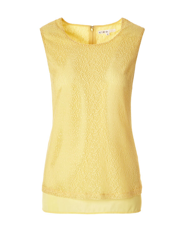 Yellow Lace Sleeveless Top, Yellow, hi-res