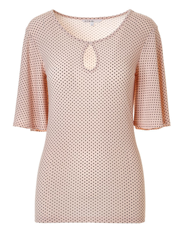 Seashell Dotted Bell Sleeve Top, Seashell Pattern, hi-res