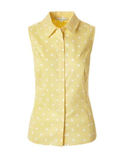 Yellow Print Collared Blouse, Yellow/White, hi-res