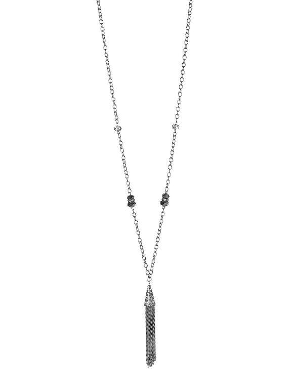 Silver Cone Pendant Necklace, Silver, hi-res
