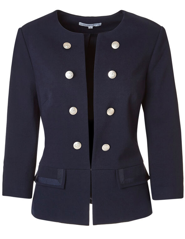 Navy Peplum Military Blazer, Navy, hi-res