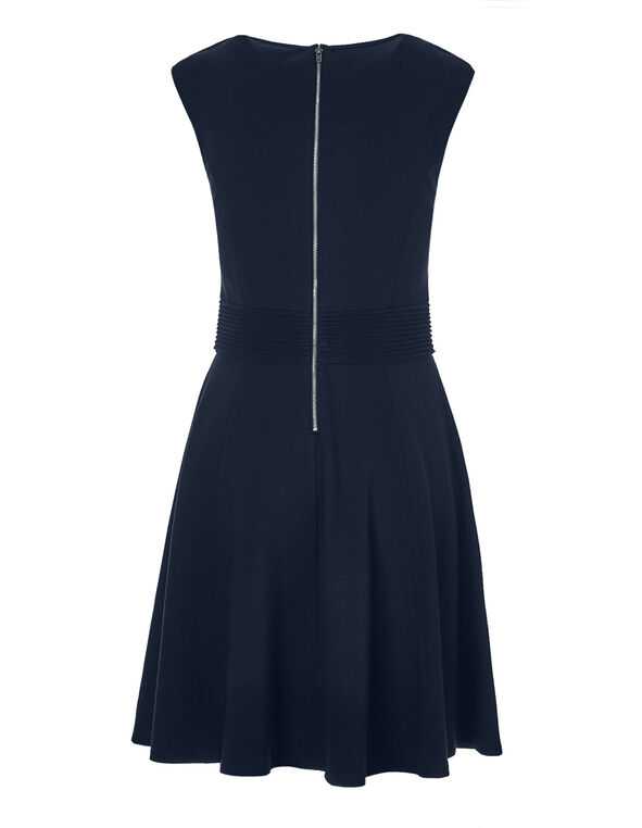 Navy Pintuck Fit and Flare Dress, Navy, hi-res