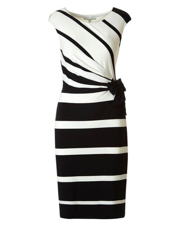 Black Tie Waist Dress, Black/Ivory, hi-res