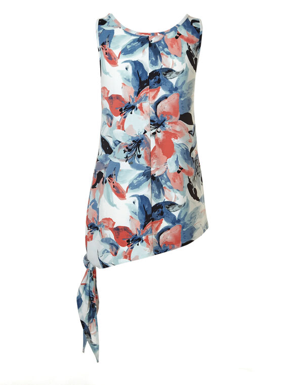 Floral Side Tie Tunic, Pink/Blue, hi-res