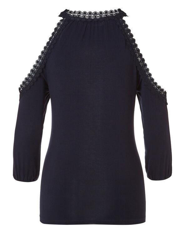 Navy Crochet Cold Shoulder Top, Navy, hi-res
