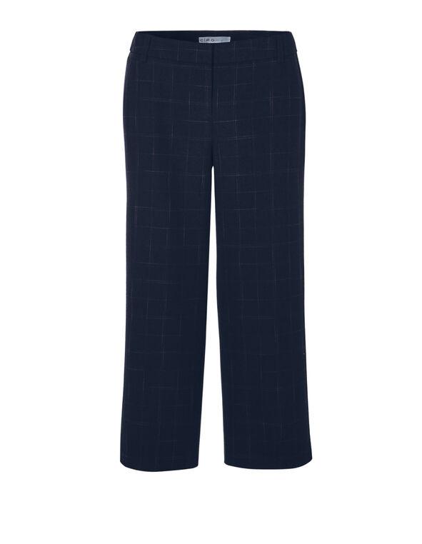 Navy Windowpane Crop Pant, Navy/Claret, hi-res