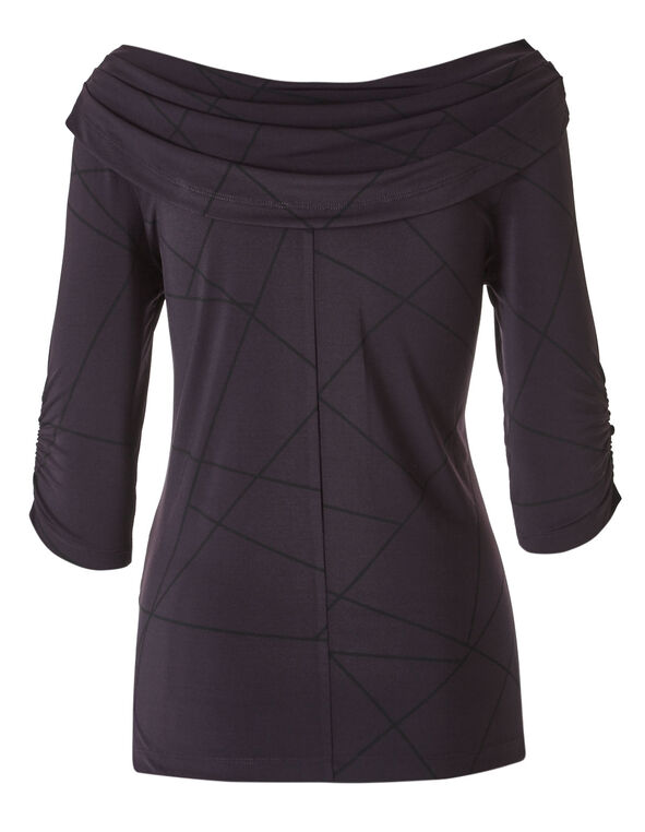 Purple Marilyn Neck Tunic Top, Purple, hi-res