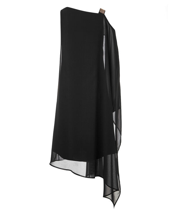 Black Chiffon Maxi Dress, Black, hi-res