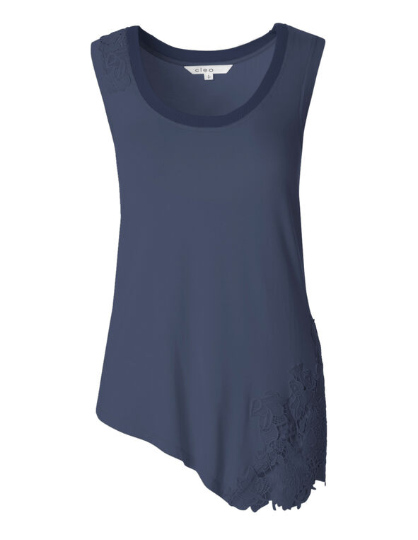 Blue Sleeveless Applique Top, Petrol Blue, hi-res