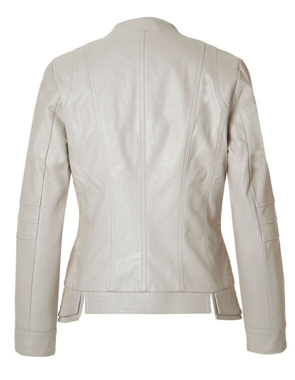 Neutral Split Faux Leather Jacket, Neutral, hi-res