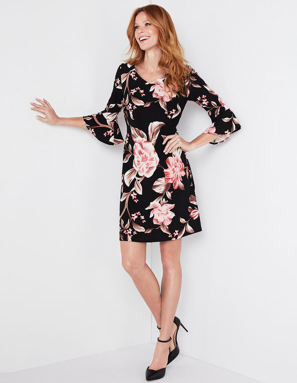 Pink Floral Bell Sleeve Dress, Pink, hi-res