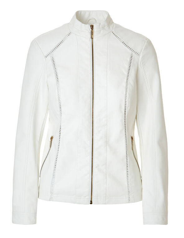 White Crochet Faux Leather Jacket, White, hi-res