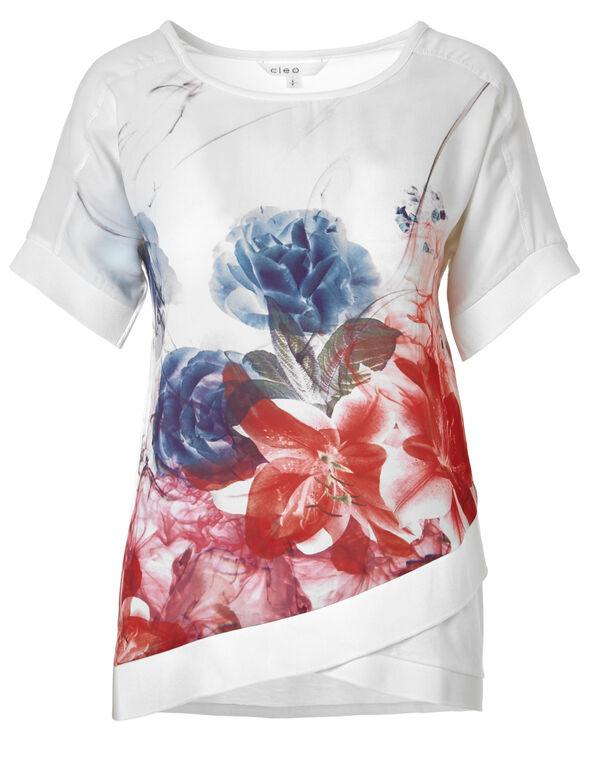 Mixed Media Floral Print Top, White, hi-res