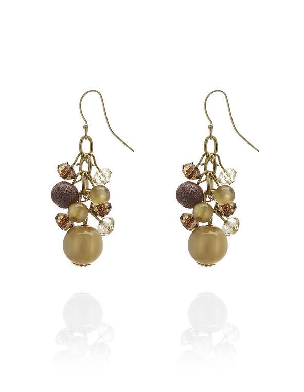 Brown Bead Cluster Earring, Gold/Brown, hi-res