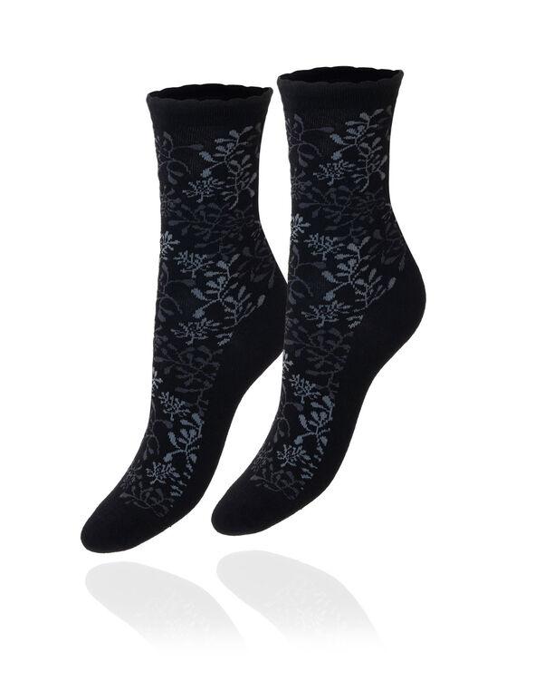 Black Floral Crew Sock, Black, hi-res