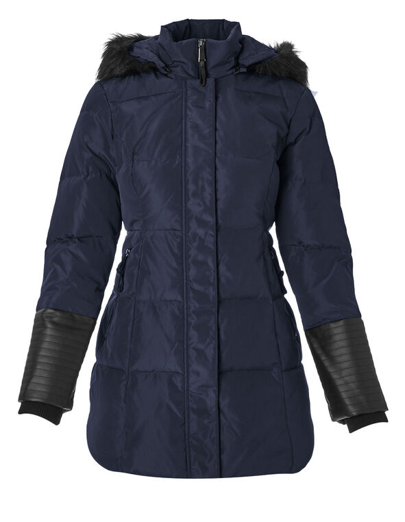 Navy Midi Down Jacket, Navy, hi-res
