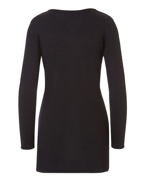 Purple Geometric Tunic Sweater, Purple/Black, hi-res