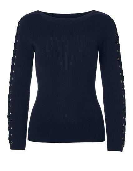 Navy Tie Up Sleeve Sweater, Navy/Gold, hi-res