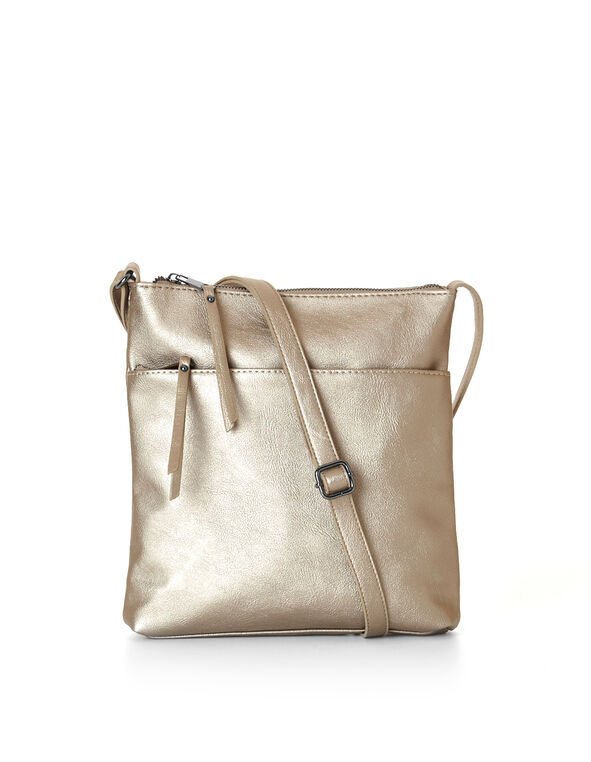 Gold Metallic Crossbody Bag, Gold, hi-res
