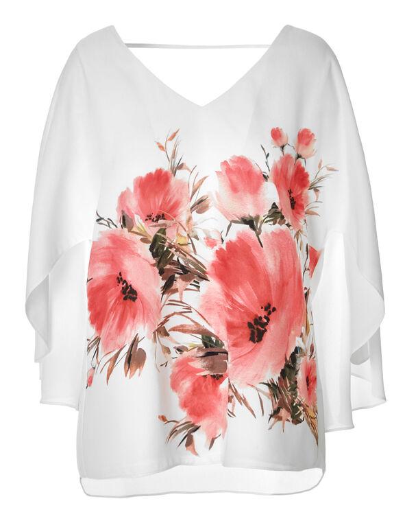 Floral Printed Caplet Blouse, White Print, hi-res