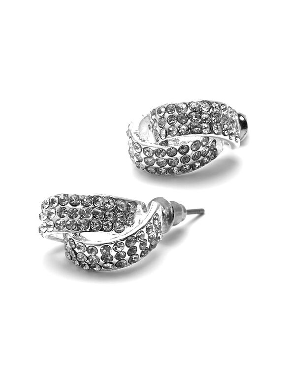 Silver Crystal Earring, Silver, hi-res