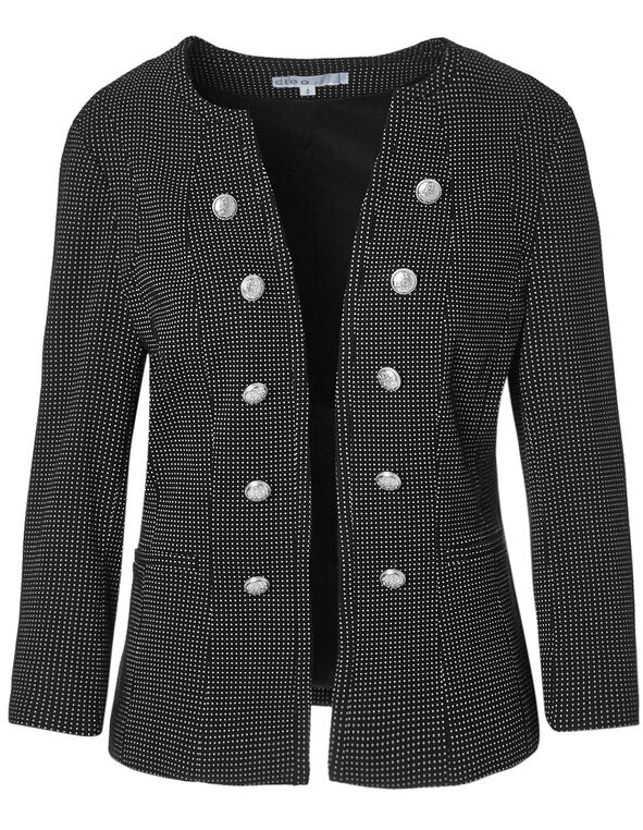 Dotted Military Blazer, Black/White, hi-res