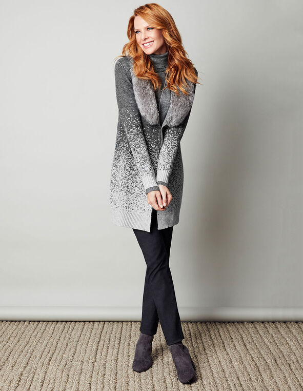 Long Faux Fur Ombre Cardigan, Light Grey Mix, hi-res
