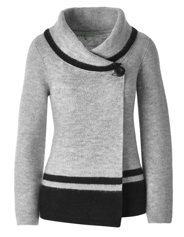 Grey Shawl Neck Cardigan , Grey, hi-res