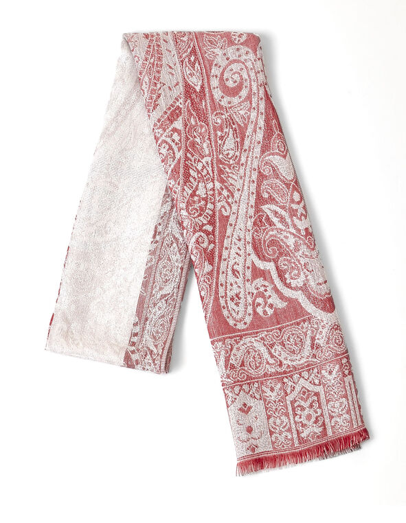Red Paisley Lurex Scarf, RED, hi-res