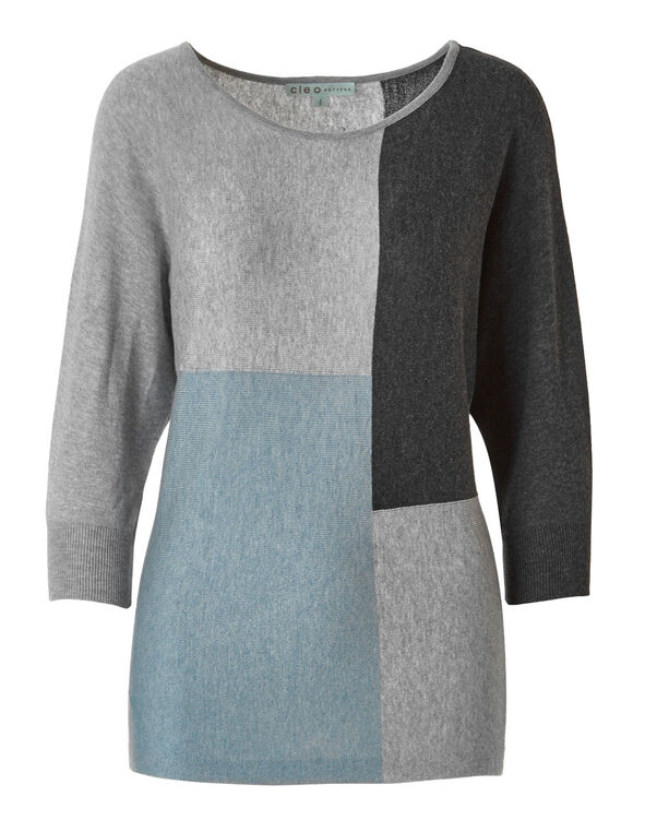 Blue Colour Block Sweater, Grey/Blue, hi-res