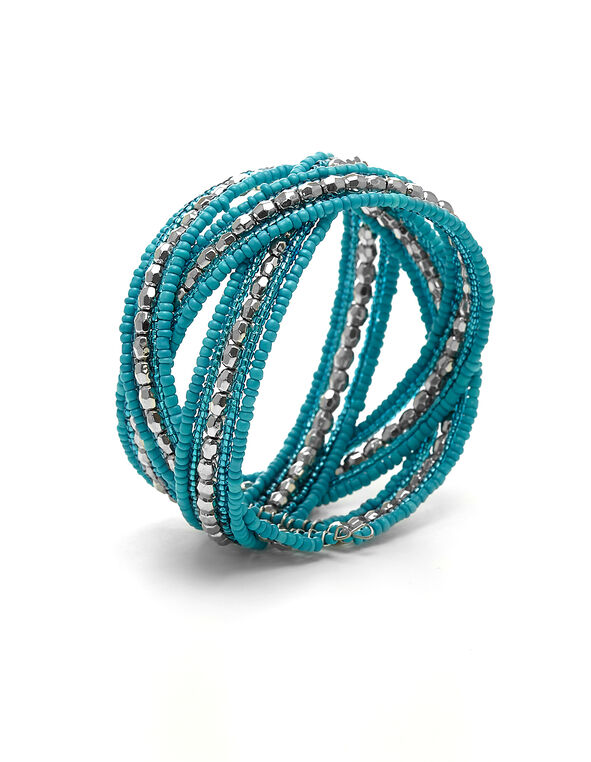 Turquoise Seed Bead Bracelet, Turquoise, hi-res