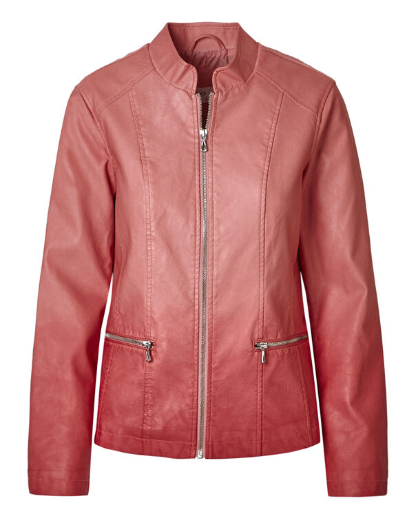 Pink Ombre Faux Leather Jacket, Pink Dip Ombre, hi-res