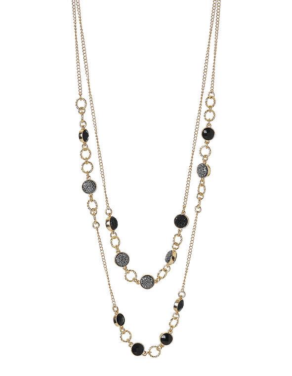 Caviar Beaded Illusion Necklace, Black, hi-res