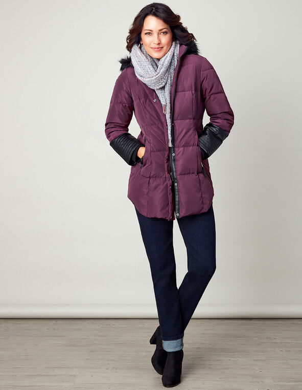 Berry Midi Down Jacket, Berry, hi-res