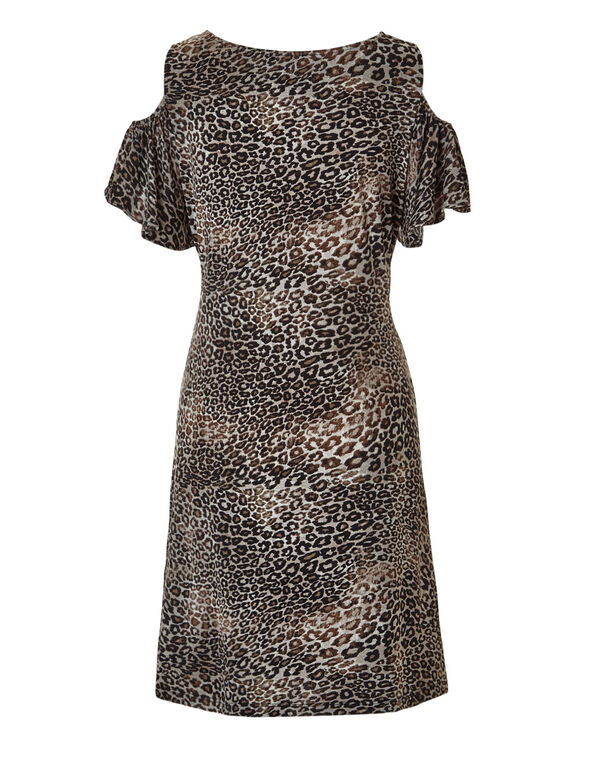 Animal Print Cold Shoulder Dress, Brown/Black/Nude, hi-res