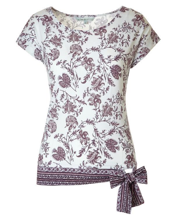 Purple Printed Side Tie Top, Purple Print, hi-res