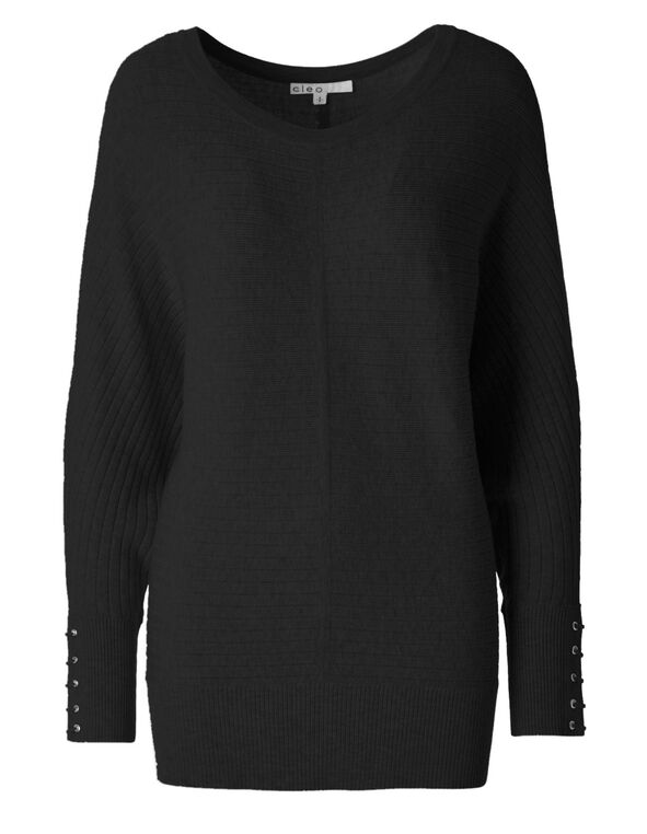 Black Dolman Sweater, Black, hi-res