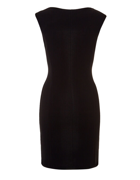 Black Lace Front Sheath Dress, Black/Ivory, hi-res