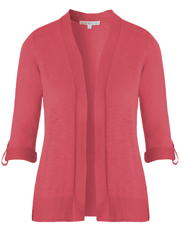 Pink Slub Roll Sleeve Cardigan, Fresh Pink, hi-res
