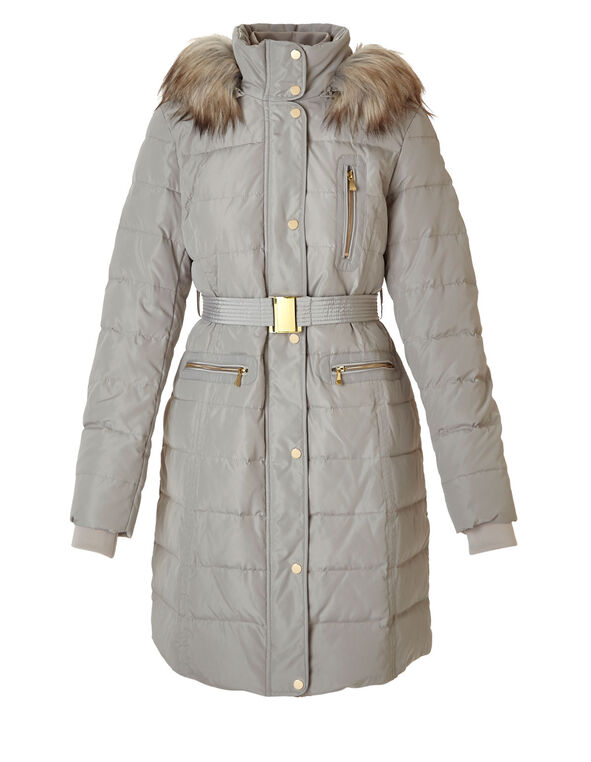 Latte Long Belted Down Jacket, Latte, hi-res