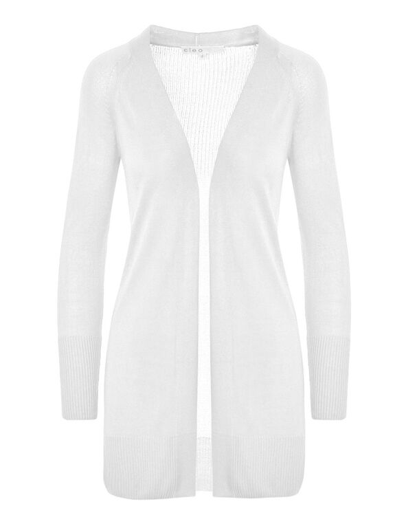 White Long Cardigan, White, hi-res