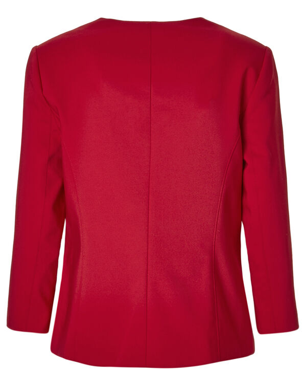 Red Collarless Zip Blazer, Red, hi-res