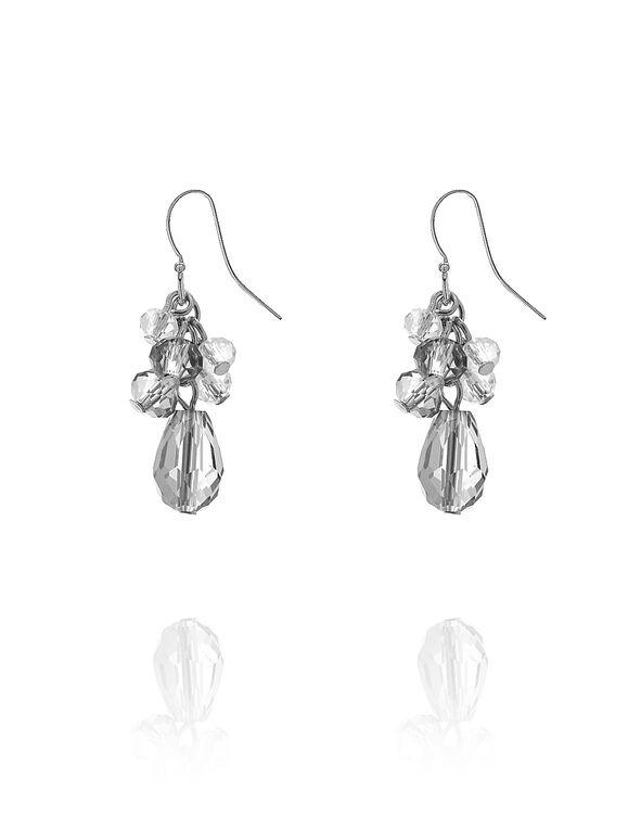 Grey Beaded Cluster Earring, Grey, hi-res