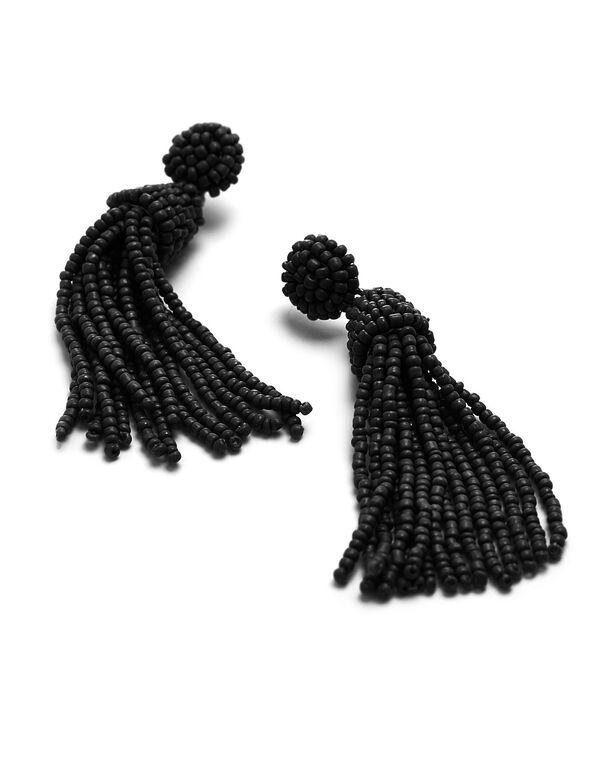 Black Seed Bead Earring, Black, hi-res
