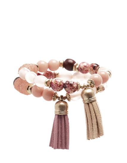 Pink Tassel Bracelet Set, Pink/Gold, hi-res