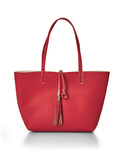 Coral Summer Tote Handbag, Coral/Bone, hi-res