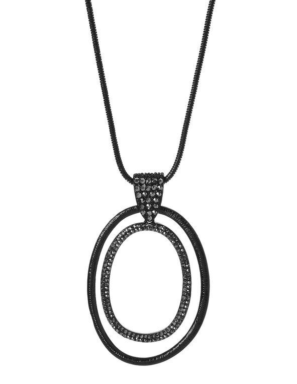 Black Glitter Oval Necklace, Black, hi-res